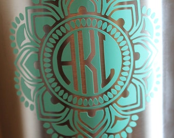 Vinyl Yeti Decal - Yeti Decal - Tumbler Decal - Mandala Sticker - Monogram Yeti Decal - Reverse Mandala Yeti Decal - Hydroflask sticker