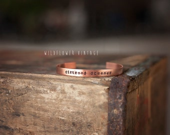 Dirtroad Dreamer Copper Cuff Bracelet | Boho Jewelry Hand Stamped Gifts for Her Country Girl