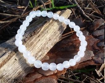 White Jade Faceted Bracelet 6mm