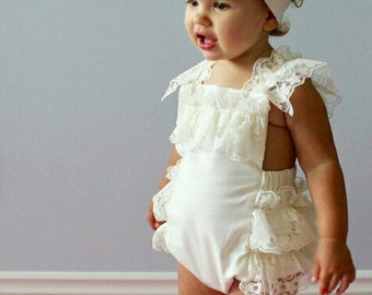 Cream Lace Romper- Baby Girl Romper, vintage style lace romper, tea party Ruffle Romper, girlie lace romper