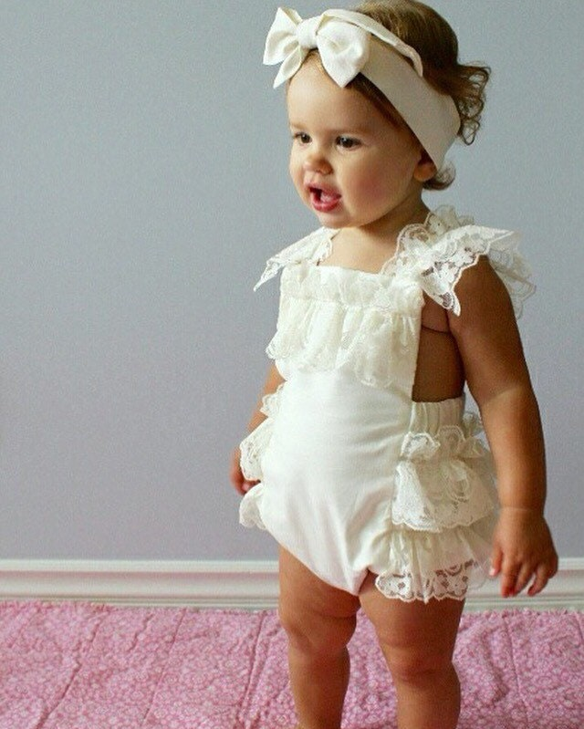 Cream Lace Romper Baby Girl Romper Vintage Style Lace