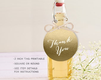 Gold Wedding Favor Tag DIY / Thank You Favor Label, Cupcake Topper / Gold Sparkle Glitter / Metallic Gold and Cream ▷Printable PDF