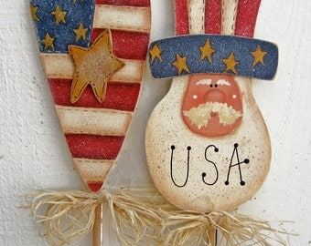 4th of July Plant Pokes Patriotic Americana USA Painted Wood Uncle Sam Plant Sticks Flag Yard Art Garden Decor Lawn Rustic Hearts Stars Tole