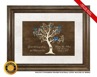 50th Anniversary Gift, Framed & Matted Love Birds Print, Solid Oak Frame, 16x20 Overall Size