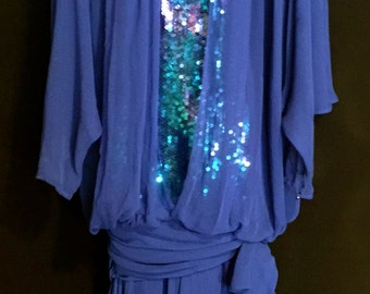 Vintage 80's Royal Blue Chiffon And Sequin dress    VG198