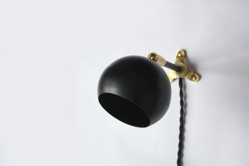 Modern Wall Sconces Plug In : Modern Wall Sconce Marylou Black Plug in Wall Sconce