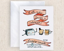 A TOAST to the happy couple on their wedding day hand painted greeting card