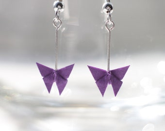 Origami Butterfly Earrings.Choose your own colour.Origami Gift.Origami Jewellery.Paper Jewellery.Origami Earrings.Paper Earrings
