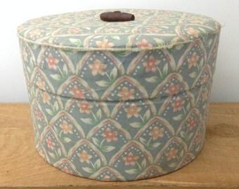 Vintage Sewing Box Fabric Covered Box Shabby Chic Stash Box Vintage Fabric Box Blue Box