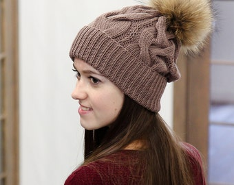 Brown Knitted Hat - Merino Wool Beanie - Womens Hat Trendy - Knitted Beanie Hat - Knit Hat With Fur Pompom - Brown Pompon Hat