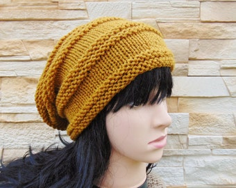 Mustard Slouch Hat Yellow Slouchy Beanie Teenager Slouchy Beanie Knit Hat Womens Cap Slouch Hat Warm Chunky Wool Winter Baggy Hat Teen Girls