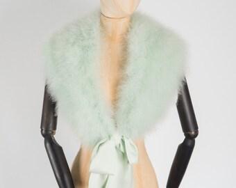 Marabou feather bridal wrap stole Mint green