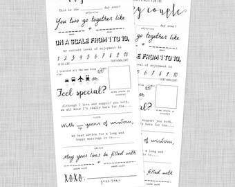 Wedding Mad Libs | Advice Card Printable, Wedding Keepsake, Marriage Advice, Instant Download