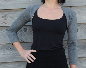 Light Grey bolero sleeves stretchy  top perfect for yoga and dance.
