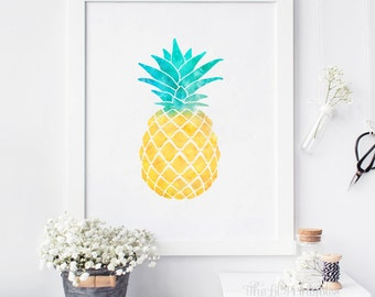 Watercolor Pineapple Printable, Pineapple Printable, Summer Print, Kitchen Wall Decor, Summer Wall Art, Fruit Printable, Pineapple Art