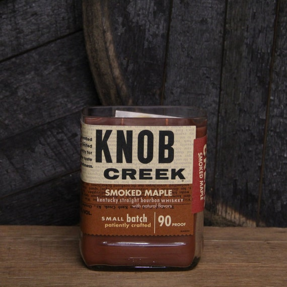 Knob Creek Smoked Maple Whiskey Candle, Anniversary Gift, Engagement Gift, Gift for Guys, Recyled Bottle, 750ml 18oz Soy Wax Upcycled Candle
