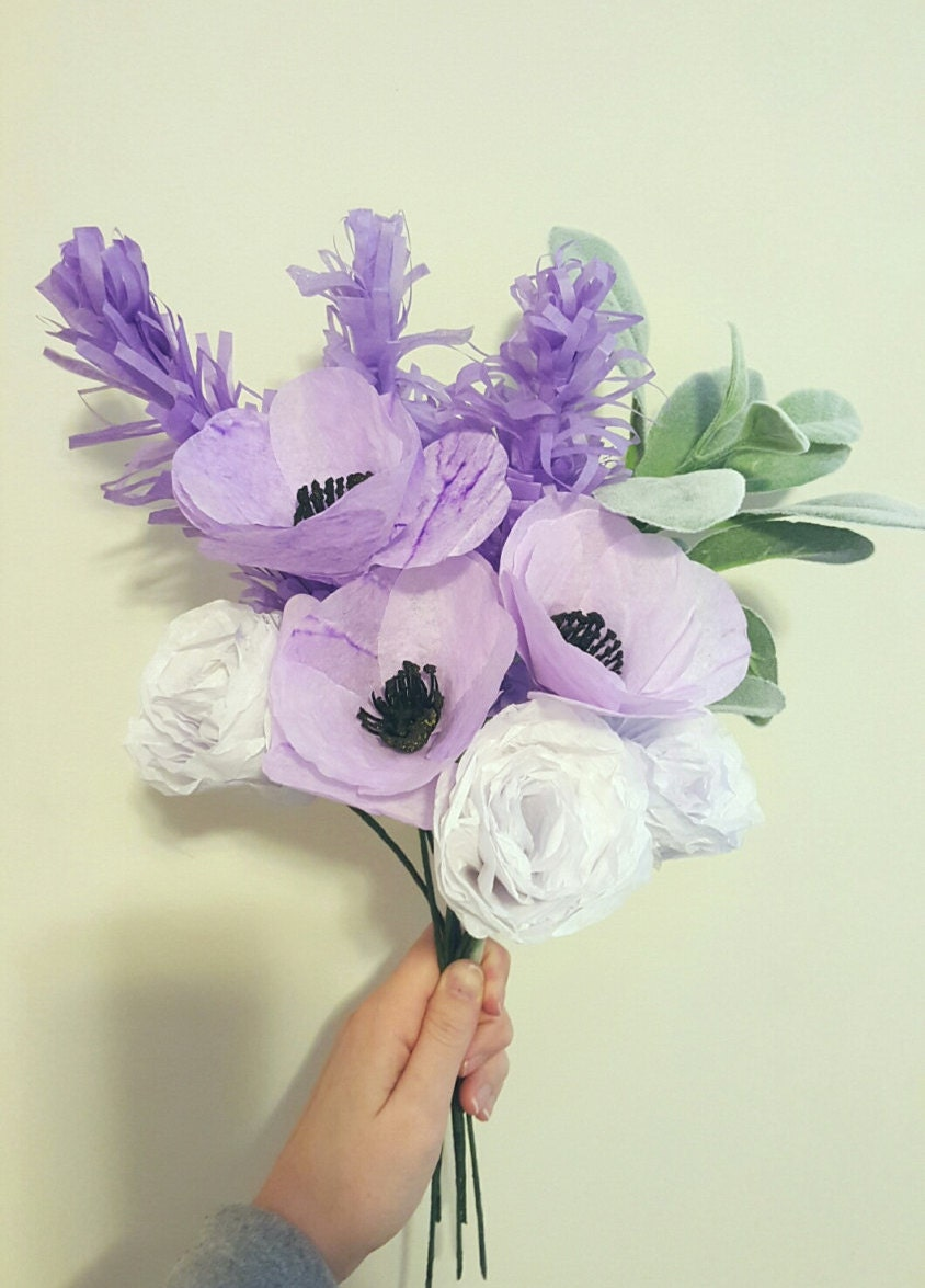 Wedding Paper Bouquet Of Flowers : Shades of purple paper flower bouquet wedding
