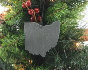 Ohio Slate Christmas Ornament