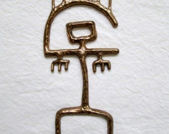 Petroglyphs Brass Figurine / Geometric / Abstract / Native / Wall Decor / Anasazi / Native American / Unique