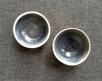 Set of two handmade salt and pepper dishes black and white - Stoneware