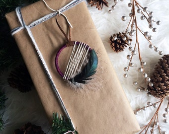 Holiday Housewarming Gift, Christmas Gift Ideas for Mom, Small Dream Catcher, Boho Christmas Tree Ornament, Bohemian Christmas Gift Topper