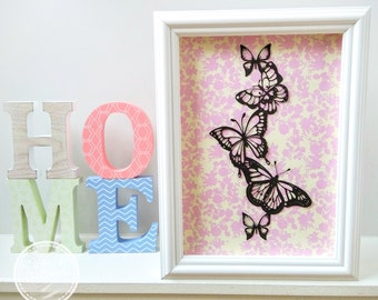 Paper Cutting Template, Personal and Commercial Use, Butterfly Tower, Printable PDF, DIY, Cut Your Own