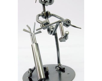 Golf player figure metal miniature art