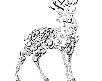 Arabic Calligraphy Art - Arabic Poetry - Arabic Calligraphy Deer - Arabic Gift - Islamic Poetry-My heart is at ease knowing that, Arabic Art