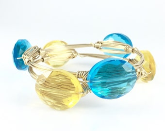 Blue or Yellow Oval Crystal Wire Wrapped Bangle - Handmade Wire Jewelry - Stacking Bracelets - Gift For Her - Yellow - Courtney And Courtnie