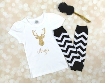 Deer Baby Girl Clothes - Personalized baby girl outfits - Newborn hospital outfit girl -Baby take home outfits -Coming home Deer baby outfit