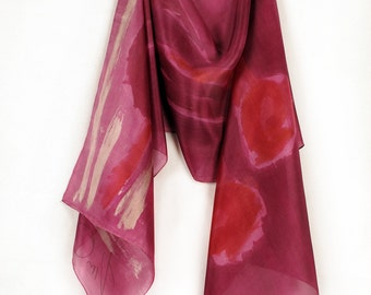 Silk scarf hand painted. Raspberry Floral abstract scarf.Long fashion scarf in deep carmine and fuchsia. Painting on silk by Dimo