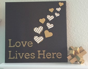 Love Lives Here - Gold and White Stripes