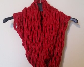 Ruby Red Chunky Knit Infinite Scarf