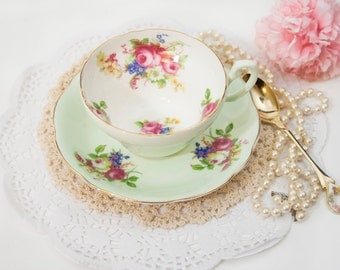 SALE Mint Green Foley Teacup Bone China, Porcelain, Floral Tea Cup, Pink Blue, Christmas Gift for Her Bridal Shower