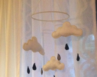 Felt Cloud Baby Mobile with Raindrops