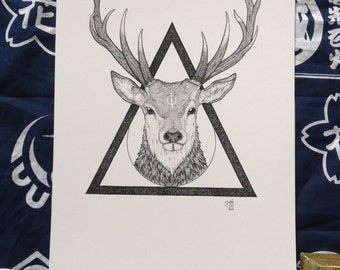 Stag on triangle - PRINT A4