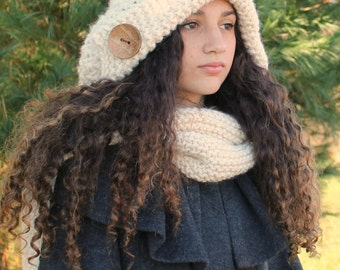 Suzette Hooded Scarf,Hooded Scarf Pattern,Knit Hood Pattern,Stylish,Thick,Unique,Winter Hood Pattern,Women's Hood Pattern,Girls Hood Pattern