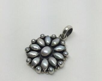 silver pearl pendant,pearl stone pendant,gemstone pendant,silver jewelry,bohemian pendant,gypsy pendant,ethnic pendant,boho chic pendant