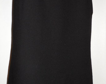 TRENT NATHAN 1970's vintage classic black 100% wool skirt with original leather belt Size 12