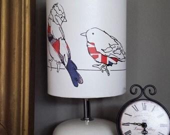 White lamp shade, bird lamp shade,British lamp shade,gorgeous Union jack shade,small lamp shade,light shade,table lamp shade,drum lamp shade