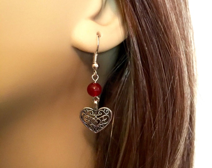 Filigree Heart drop earrings, Antique Silver filigree heart dangle earrings, Red bead and antique silver filigree heart dangle earrings.