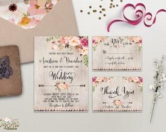 Floral Rustic Wedding Invitation Printable Boho Chic Wedding Invitation Suite Watercolor Peony Wedding Invite Bohemian Wedding, Digital File