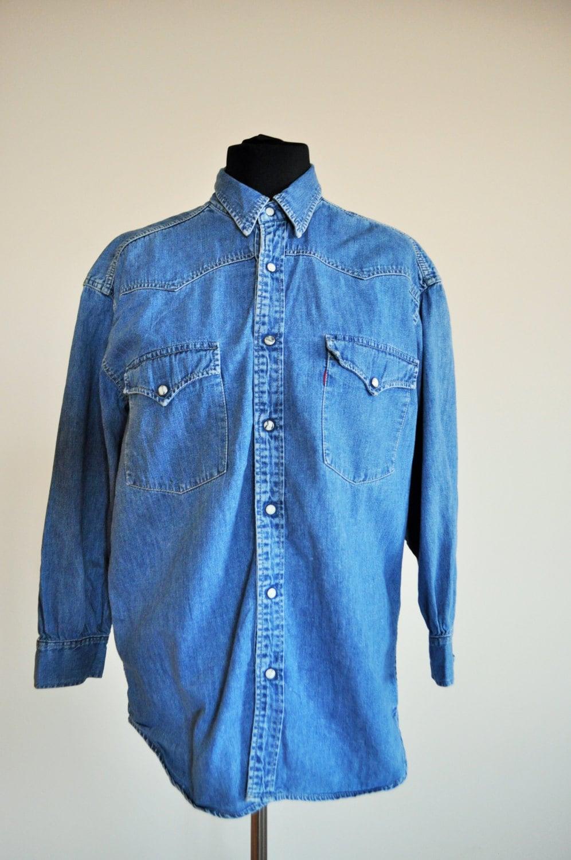 Vintage denim shirt button down jean mens medium shirt for Jean button up shirt mens
