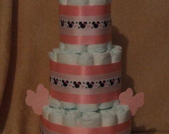 3 Tier Diaper Cake Disney Minnie Mouse Baby Shower Centerpiece