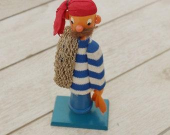 Fischer Holz Puppe - Weinlese-hölzerne Puppe Figur - ♥ - kleine Fischer-Doll - Childrens Gift - Nar Mag