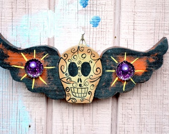 Authentic Mexican Handmade Folk Art Wood // Mexican Folk Art Wood Skull // Wood Skull with Wings
