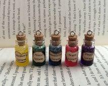 Memory, Peace, Simulation, Truth, Death Serum Bottle Necklace / Pendant / Bookmark / Earrings / Decoration / Keyring inspired by Divergent