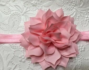 Soft Pink Petal Blossom on Pink Elastic Headband (HB-24), Pink Headband, Pink Flower Headband, Baby Headband, Girls Headband