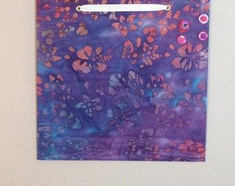 fabric covered magnet board 16x16 purple batik print