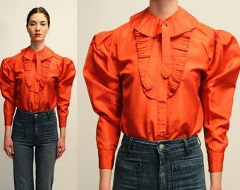Vintage 70's Kenzo Silk Pleated Blouse